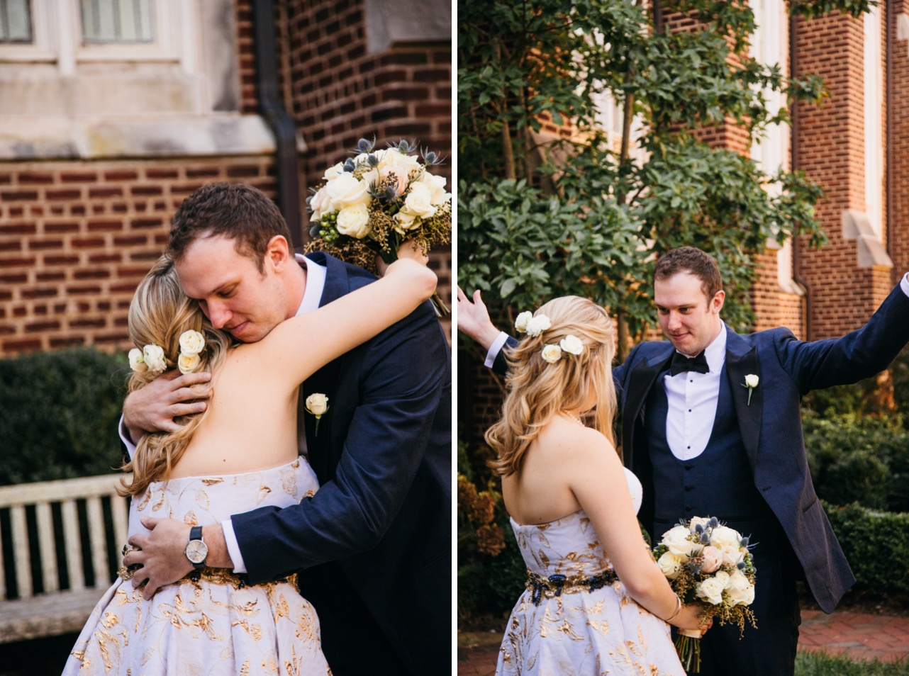 Groom opens his arms and gives the bride a hug before their wedding at Hunter Museum.