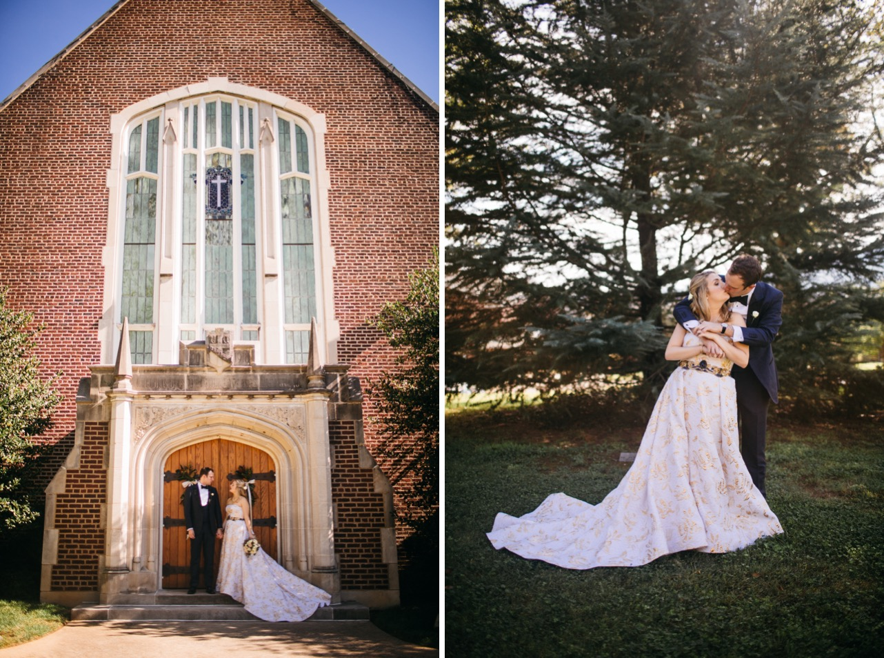 Bride and groom hold hands in front of the chapel at the Hunter Museum. Bride and groom share a kiss.