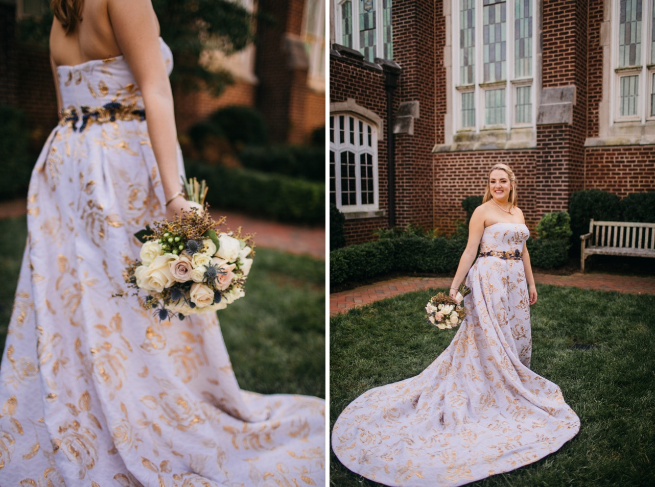 Details of the brides dress and bouquet are shown at her wedding at Hunter Museum. Bride looks back and smiles.