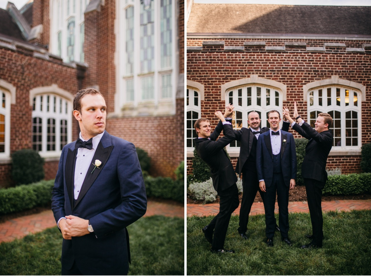 Groom looks to the side and holds his suit jacket. Groom and groomsmen laugh outside the Hunter Museum.