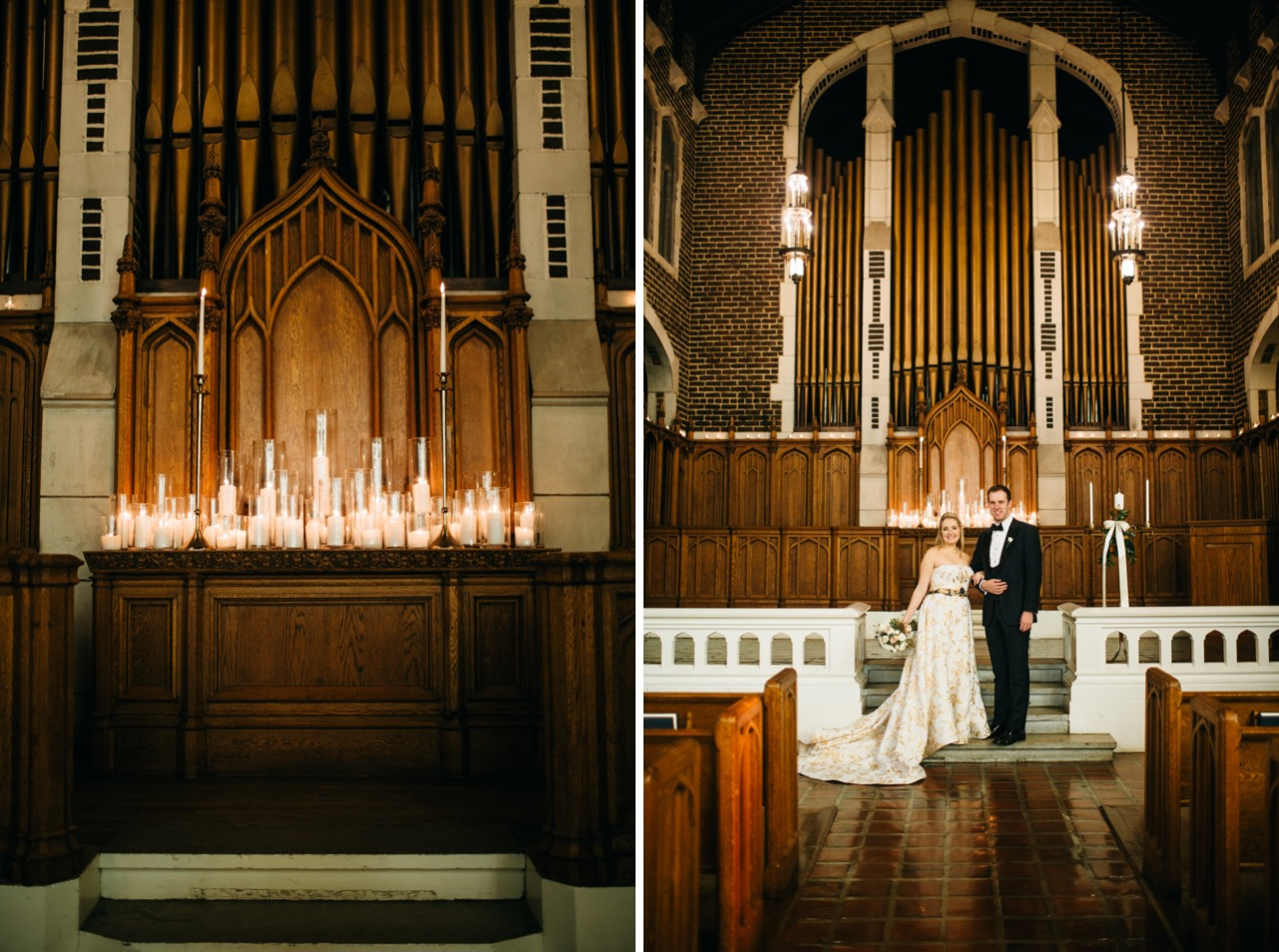 White candles are lit inside the chapel. Bride and groom link arms inside the chapel at their wedding at Hunter Museum.
