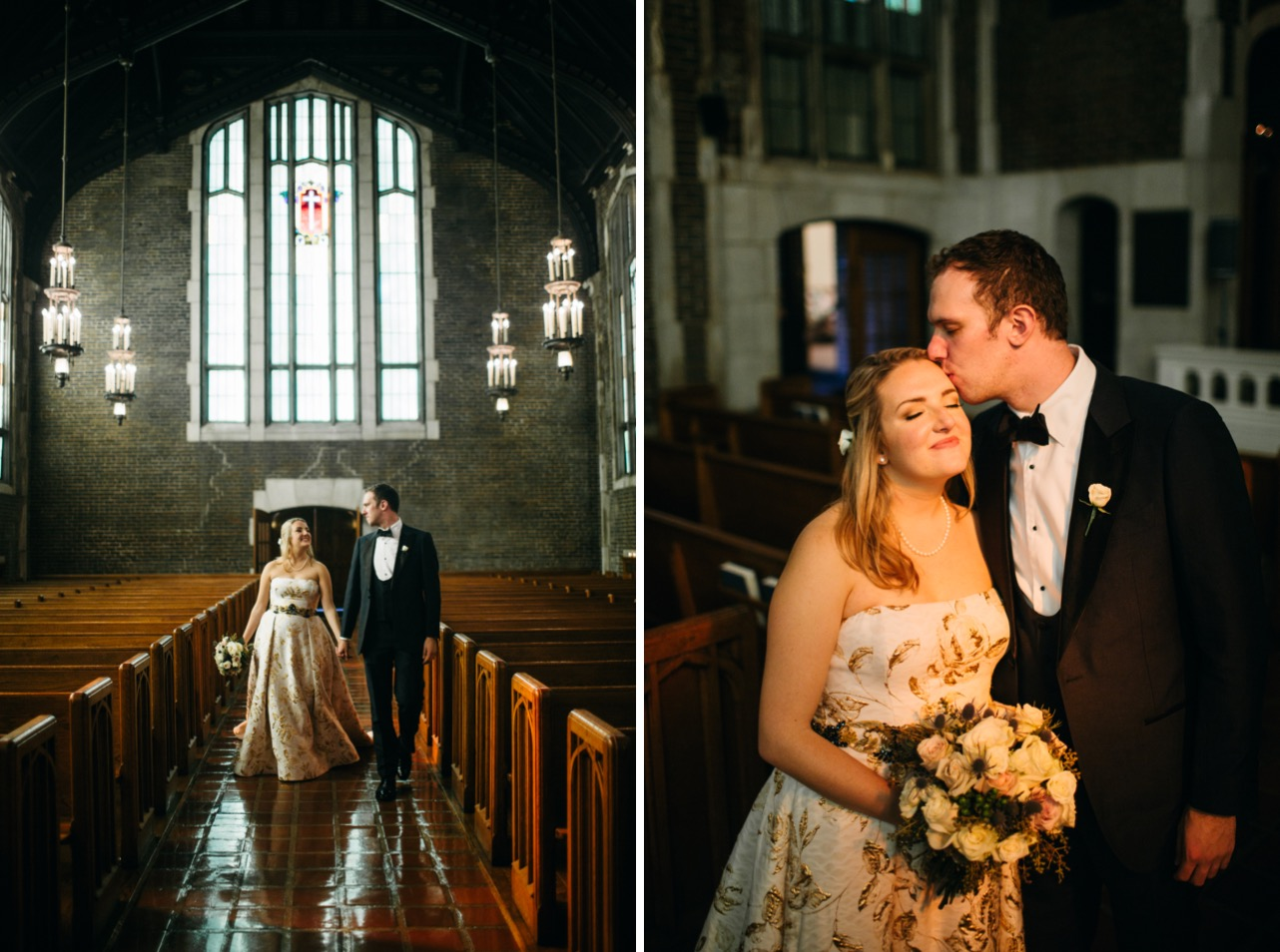 Bride and groom smile at eachother as they walk down the aisle. Groom kisses bride on forehead at their wedding in the Hunter Museum.