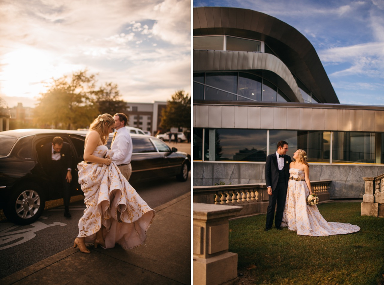Bride and groom exit limo outside their reception of their wedding at the Hunter Museum. Bride and groom look at each other and smile.