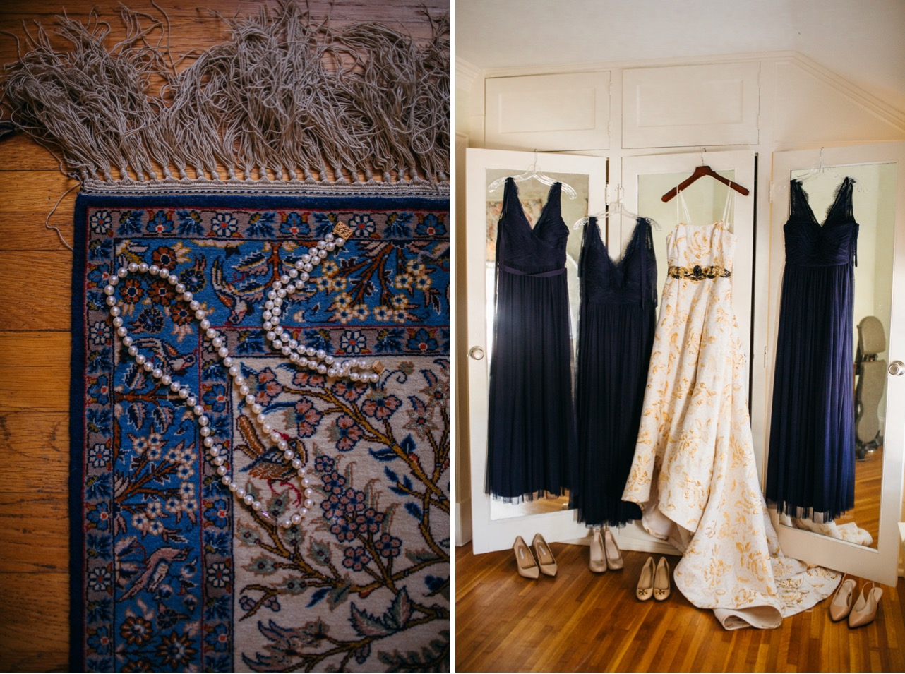 Pearls are laid out on a blue colorful rug inside the Hunter Museum. Bride and bridesmaid dresses are hung agaisnt the door