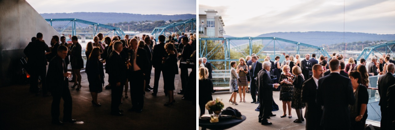 Family and friends mingle during the reception at the wedding at Hunter Museum.