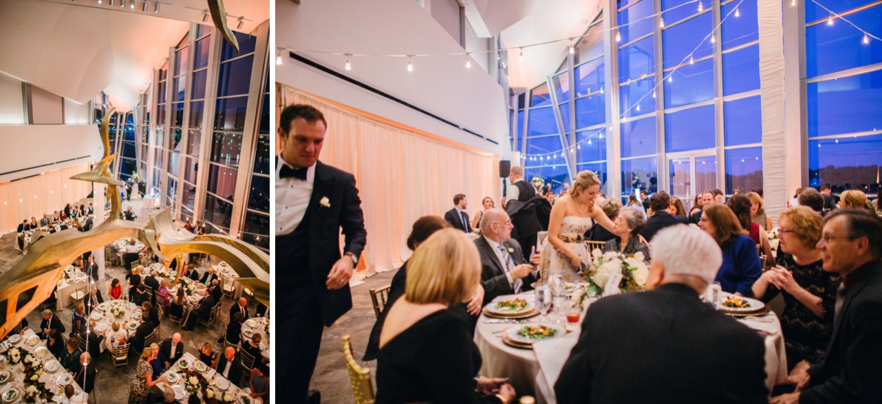 Bride and groom greet family and friends during their wedding at the Hunter Museum.
