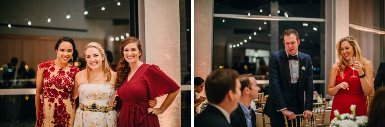 Bride smiles for a photo with her friends as groom mingles with his friends during their Hunter Museum wedding.