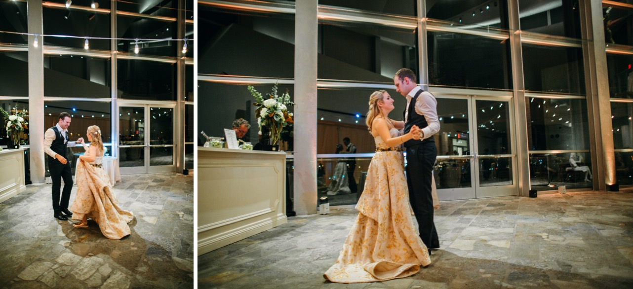 Bride and groom share their first dance at their wedding at the Hunter Museum.