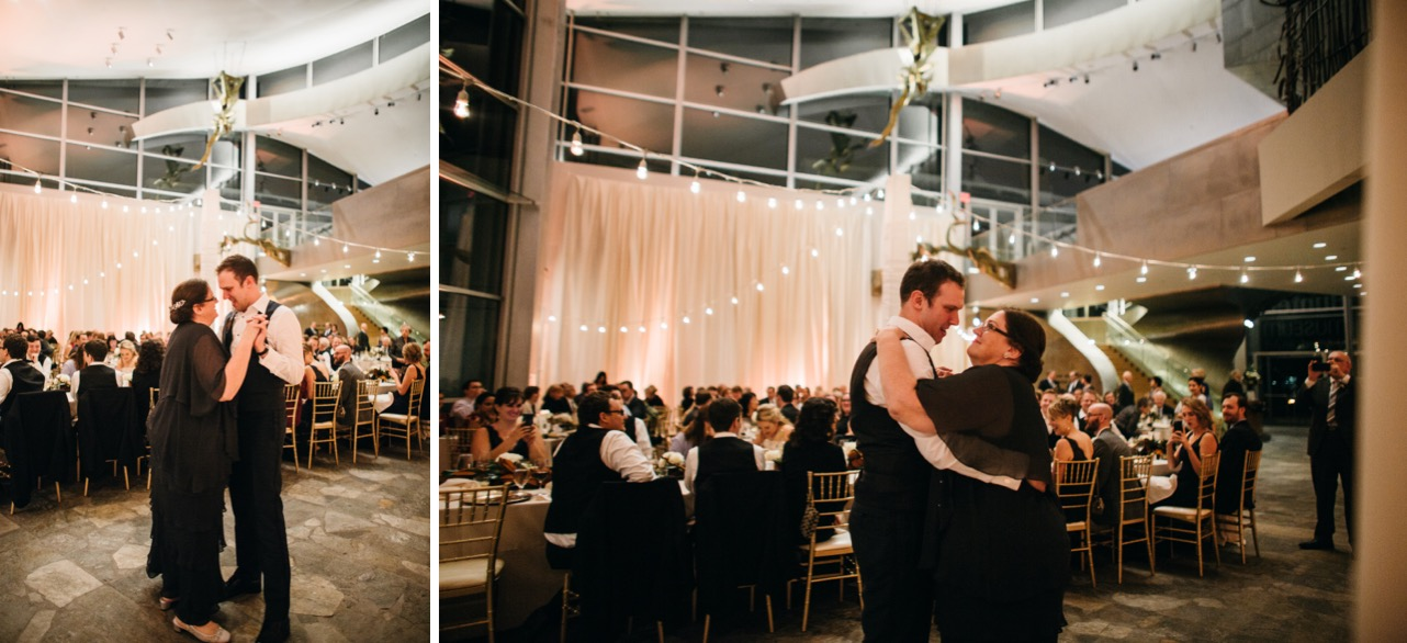 Groom dances with mother during the wedding at the Hunter Musuem.