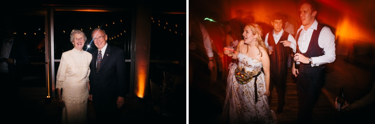 Bride and groom dance with drinks during their wedding at the Hunter Museum.