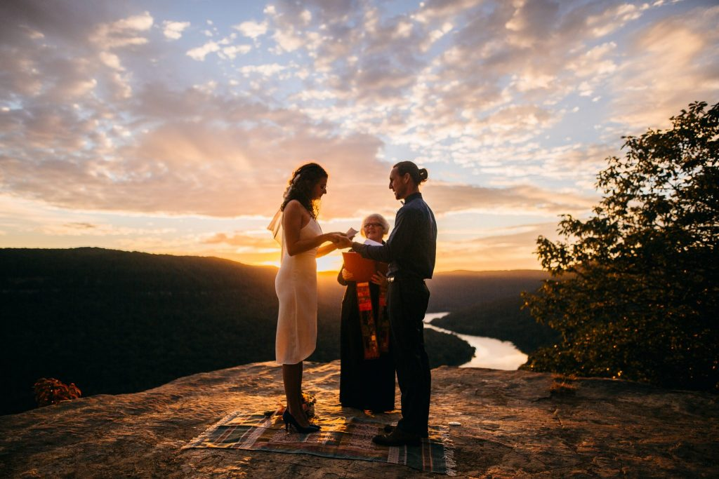 Sunrise elopement with delicious gold light on the cliff at Snoopers Rock, just a short drive from Chattanooga TN