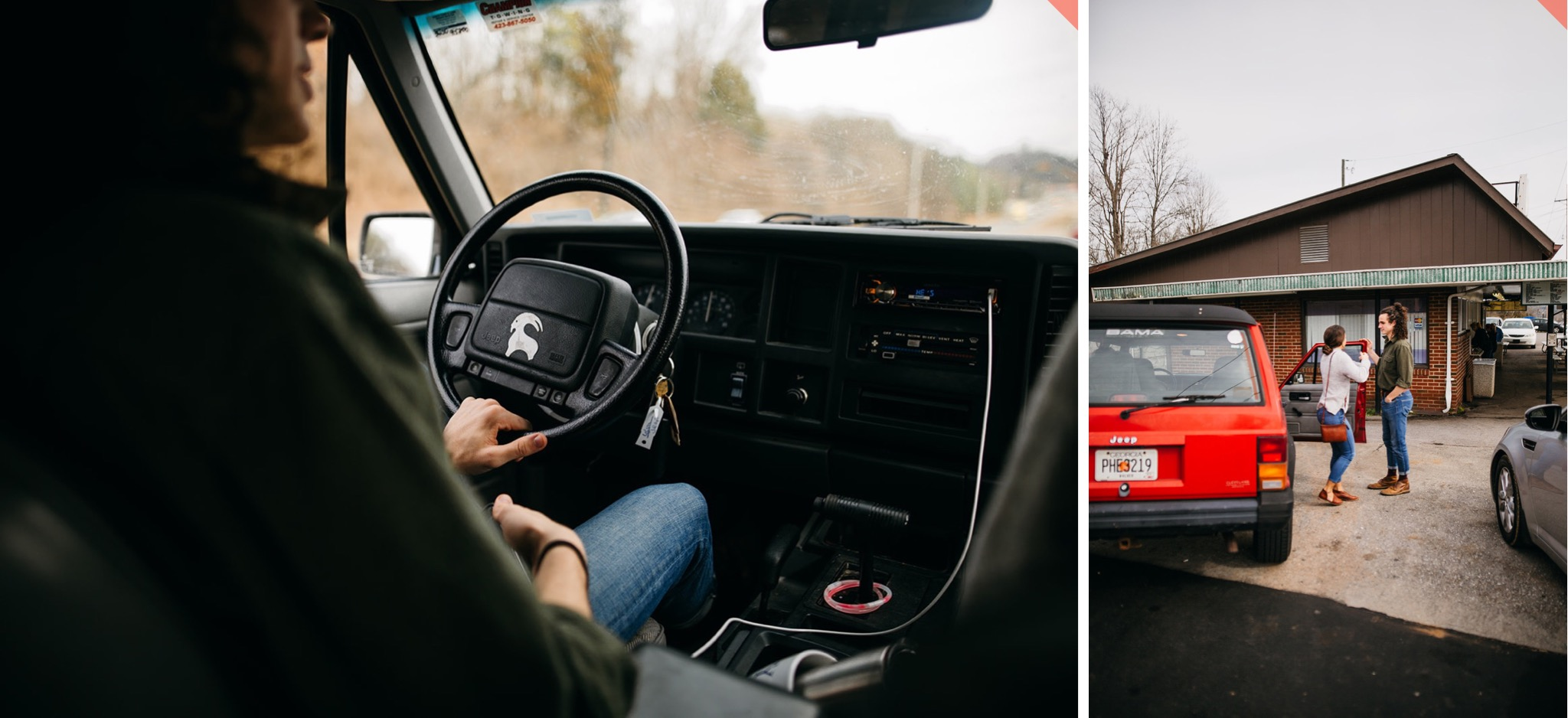 A man sits behind the wheel of an old red Jeep Cherokee.
