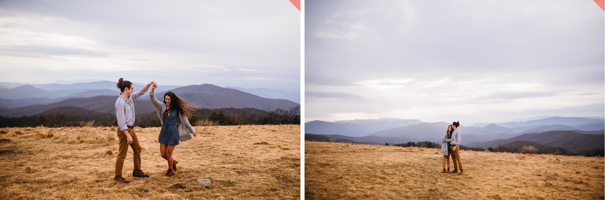 A couple poses for their hiking engagement photos at the top of Max Patch in North Carolina.
