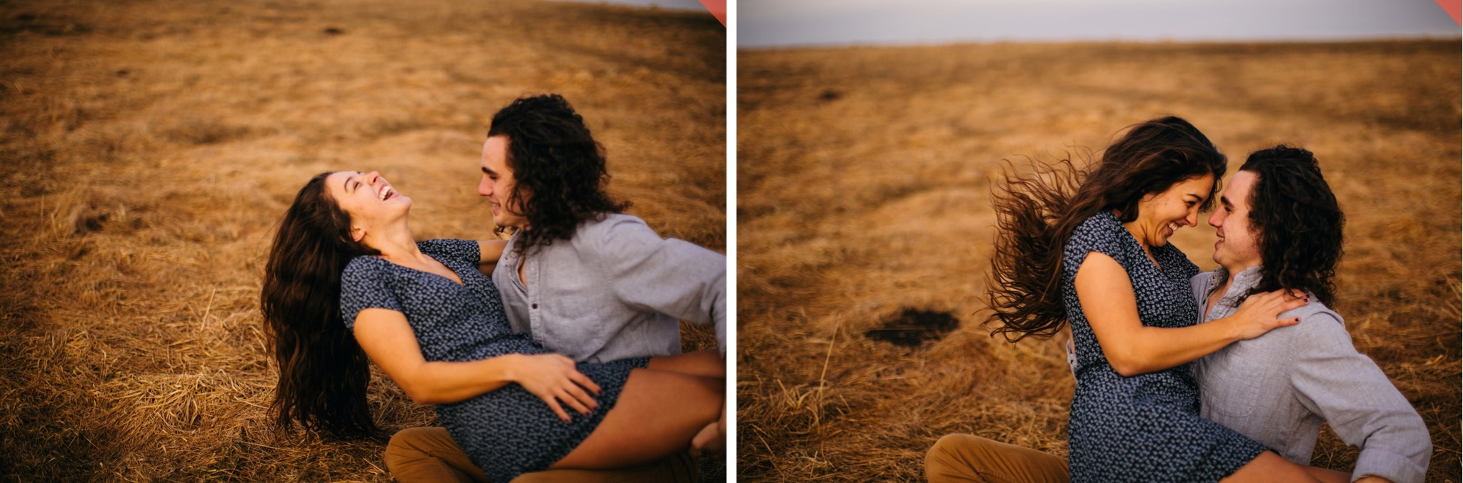A couple embraces on the ground on top of Max Patch in North Carolina.