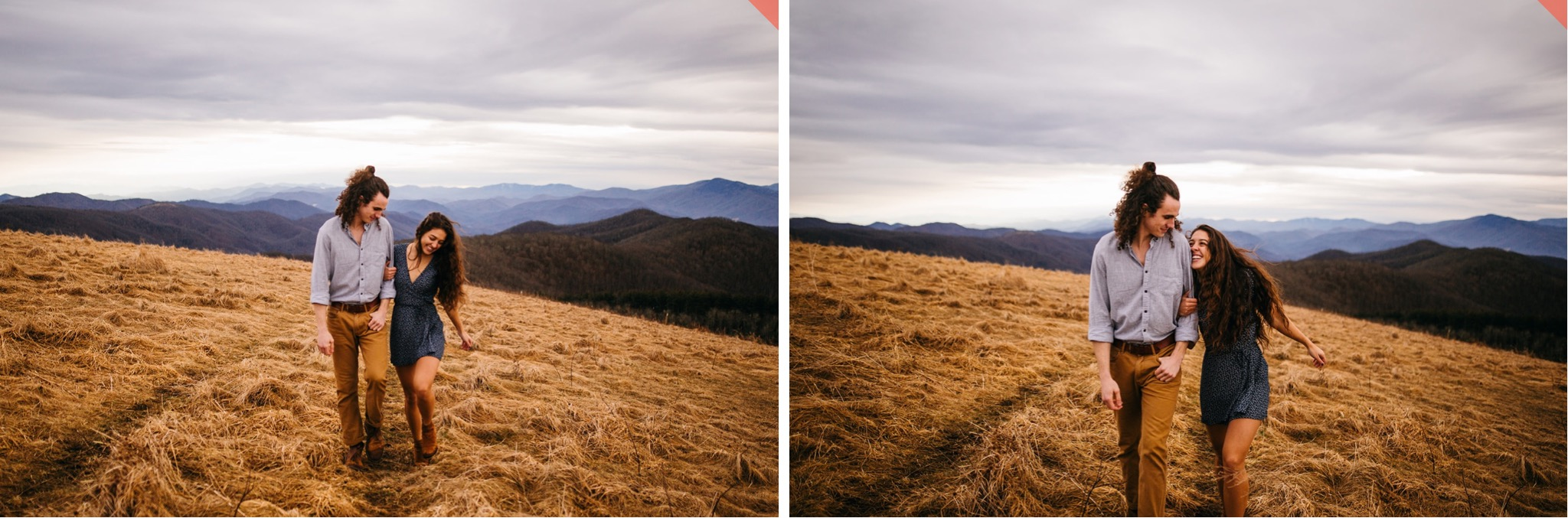 A couple walks hand in hand on top of Max Patch in North Carolina.