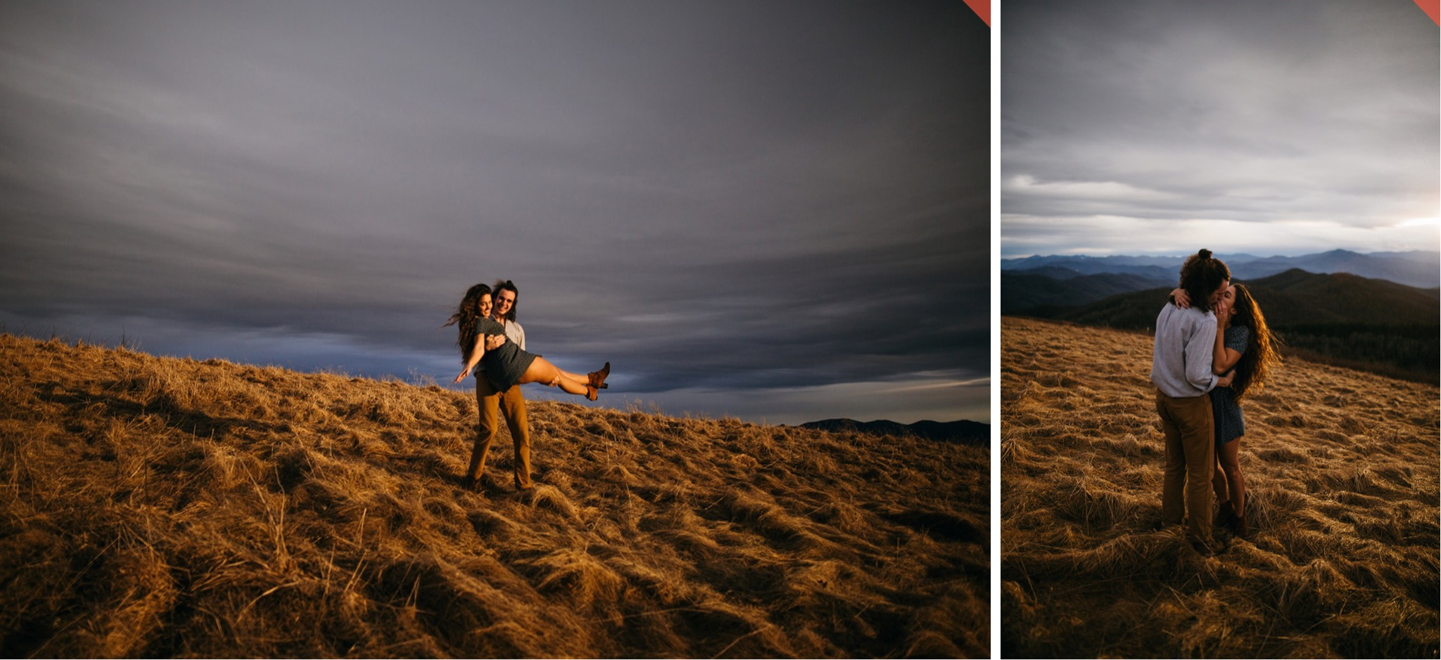 A couple embraces in the sunset light at the top of Max Patch.