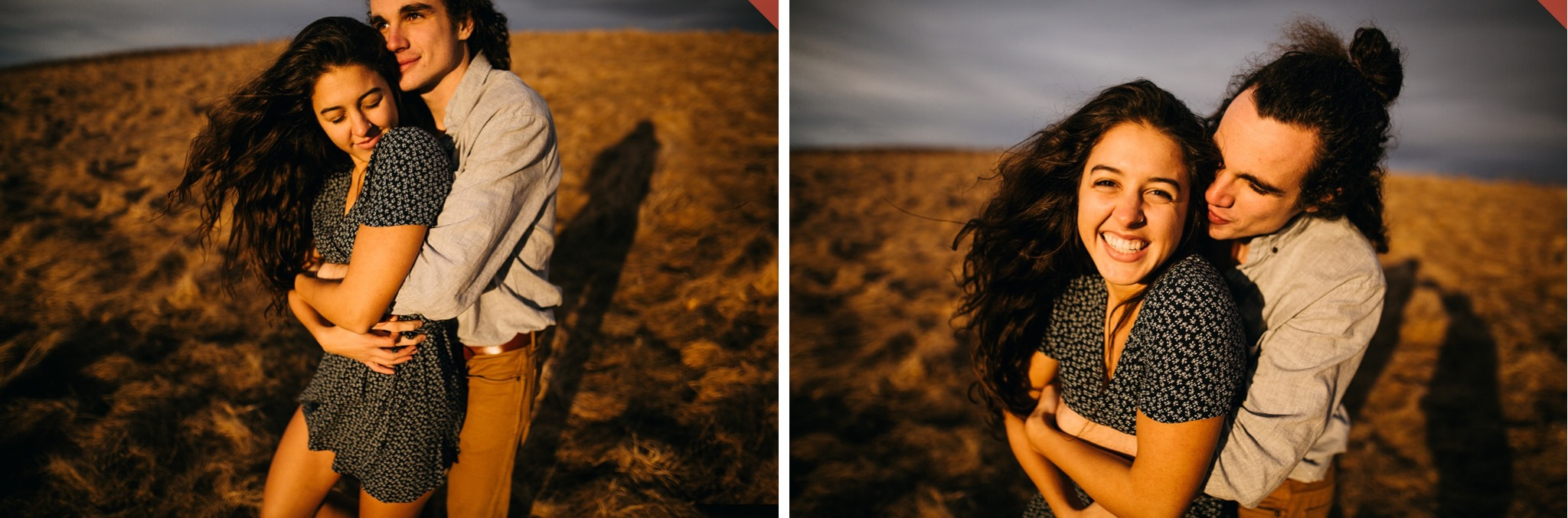 A couple embrace in the sunset light at the top of Max Patch.