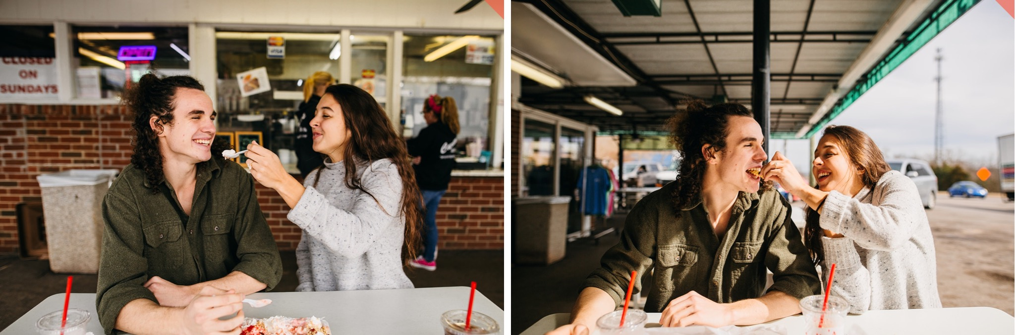 A woman feeds her fiance a bite of banana split in a booth outside a drive-in diner.