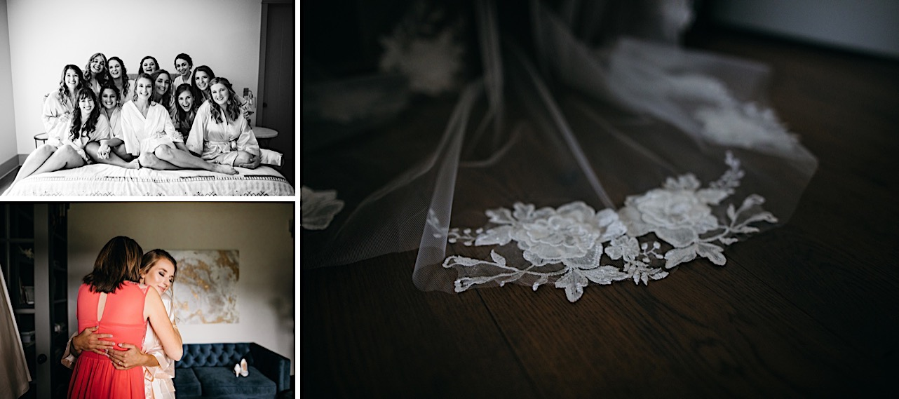 floral lace detail on brides veil rests on wooden floor