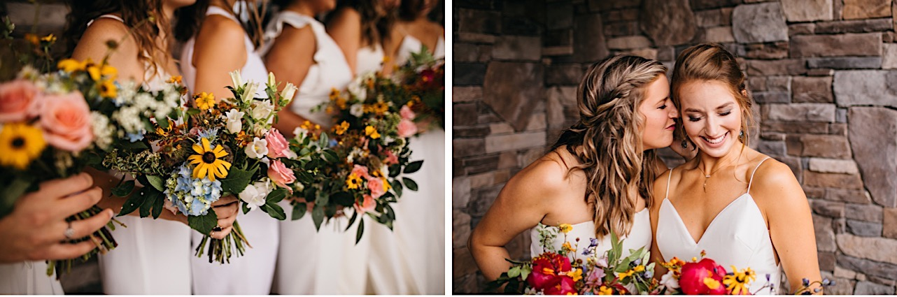 bridesmaids hold their colorful Emily Kaye Designs bouquets in front of their white jumpsuits