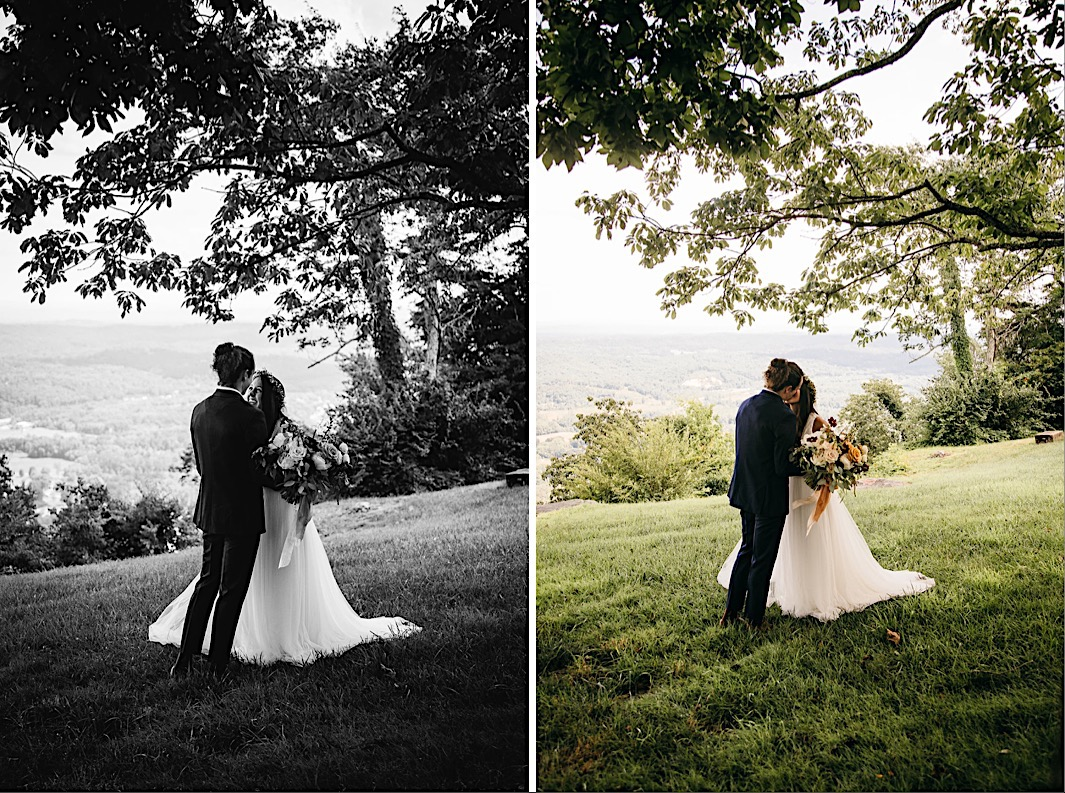 bride and groom kiss at their first look with her Southerly Flower Farm bouquet to the side