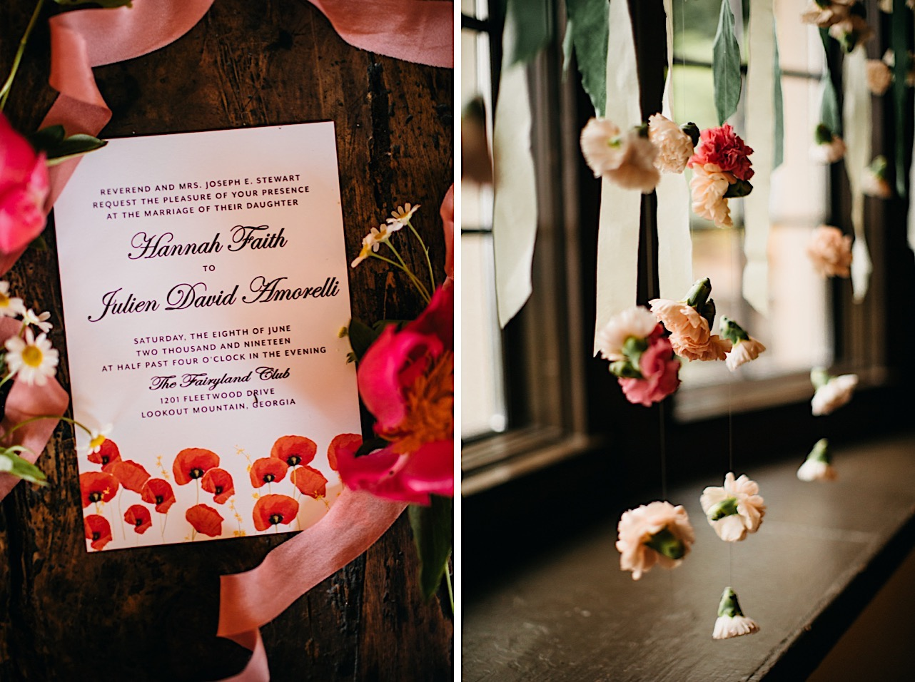 wedding invitation printed with red poppies surrounded with pink ribbon and small flowers