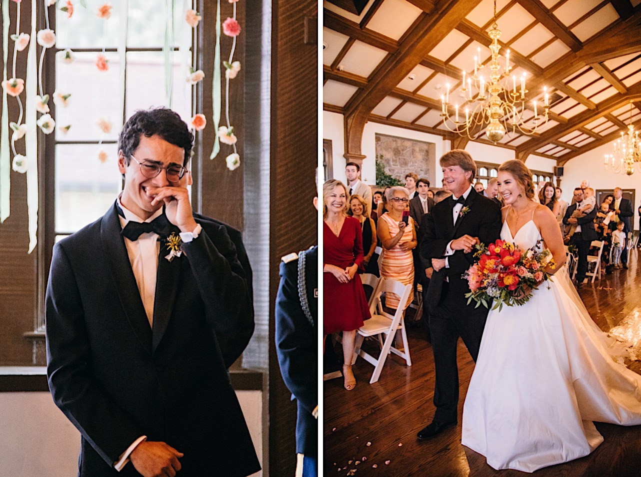 bride smiles as her father walks her down the aisle and groom cries when he sees her
