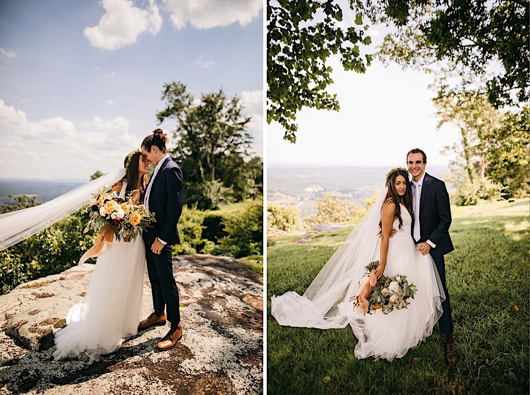 Bride and groom stand on a large rock on Lookout Mountain bluff. Her veil blows in the wind, and she holds a large, organic floral arrangement by Southerly Flower Farm.