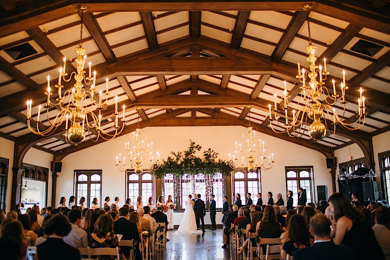 Lookout Mountain Club ballroom with high arched ceiling and exposed beams
