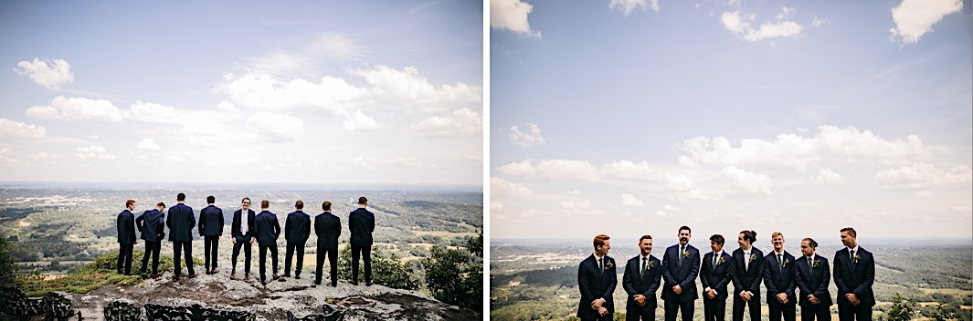groom and groomsmen stand on a large boulder on Lookout Mountain bluff overlooking the Tennessee Valley