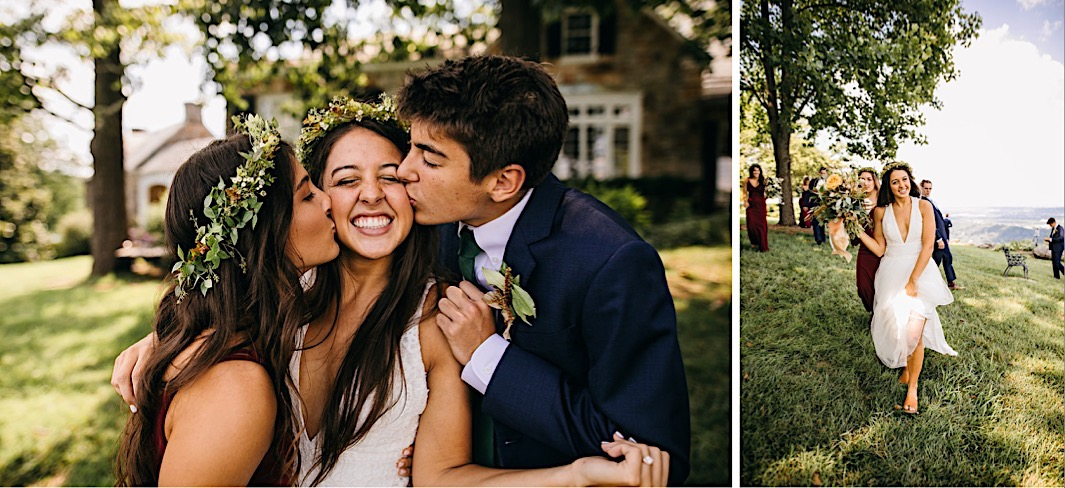 bridesmaid and groomsman kiss brides cheeks while she smiles widely