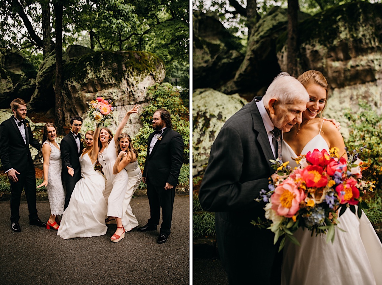 bride hugs her grandfather while holding her large, colorful bouquet