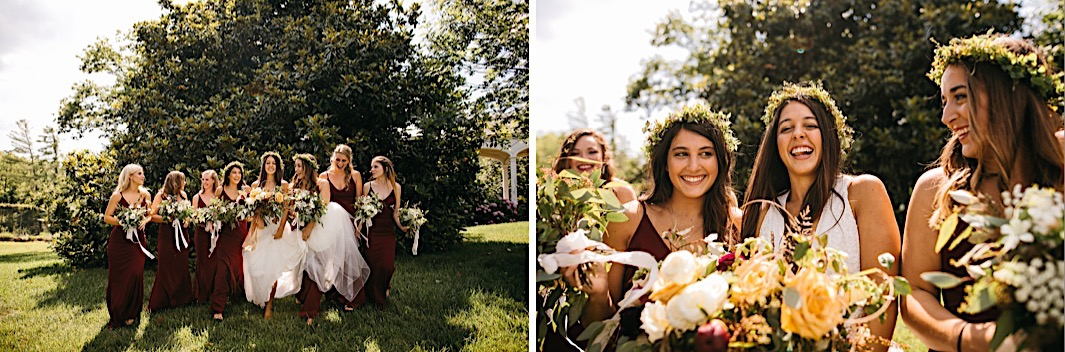 bride and bridesmaids hold their lush Southerly Flower Farm bouquets in front of a large magnolia tree