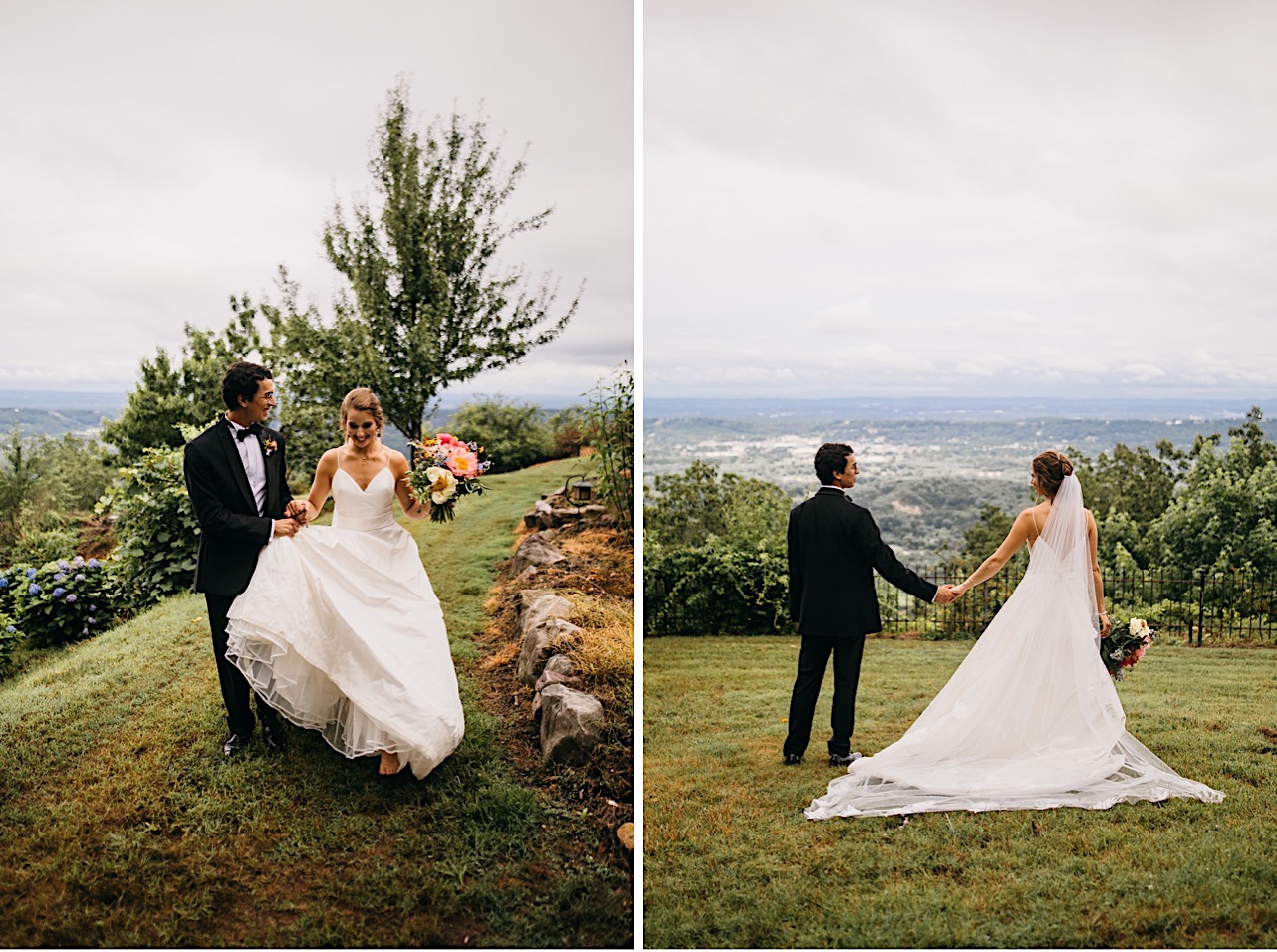 bride and groom hold hands on a bluff at Lookout Mountain Club while she holds her Emily Kaye Designs bouquet