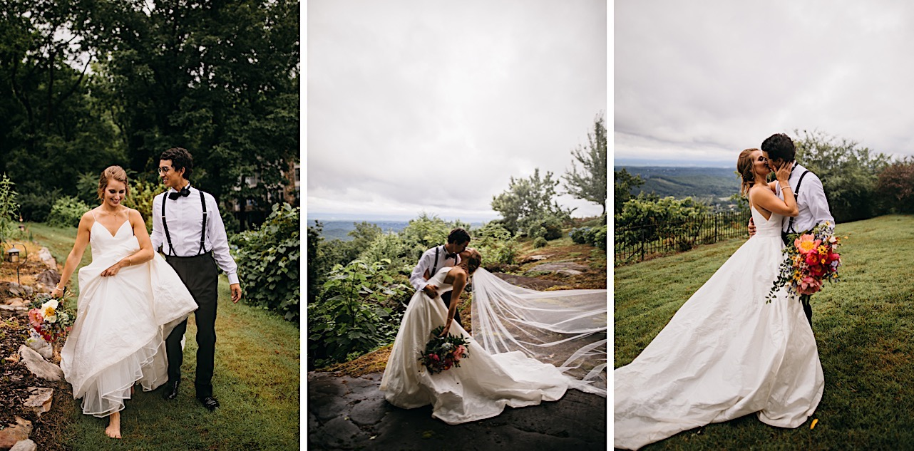 bride and groom kiss at Lookout Mountain Club overlooking the Tennessee Valley