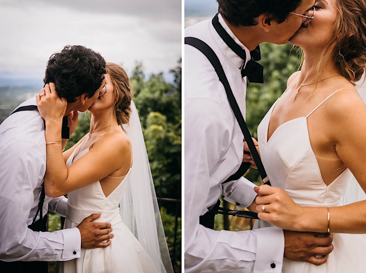 bride grabs grooms suspenders and pulls him close for a kiss as he puts his hands on her waist