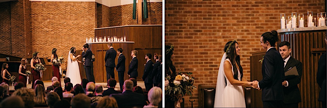 bride and groom exchange vows at First Baptist Church in Chattanooga, TN