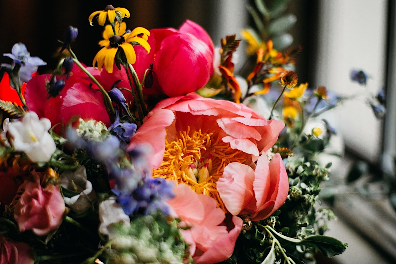 rich colors of Emily Kaye Designs wedding bouquet for Fairyland Club at Lookout Mountain Club wedding