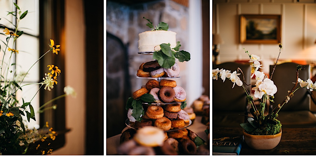 layerd cake tower with variety of donuts on each layer topped by a small layer cake