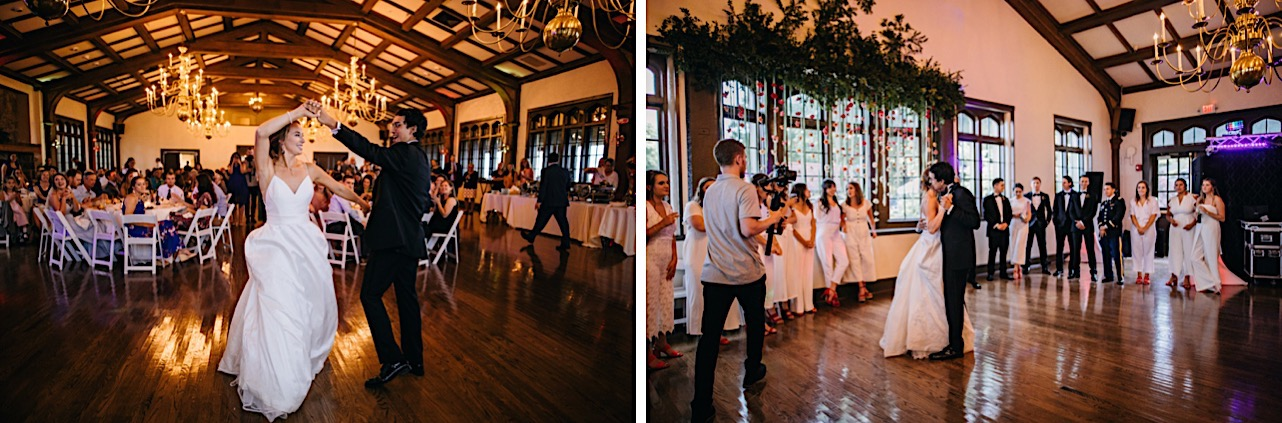 bride and groom dance together on wooden dance floor at Lookout Mountain Club under exposed beams and high ceiling