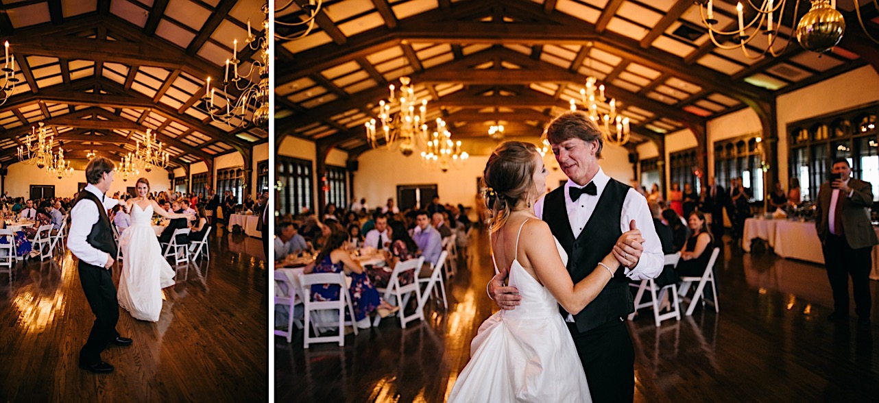 bride and father share a dance at Lookout Mountain Club wedding reception while guests watch