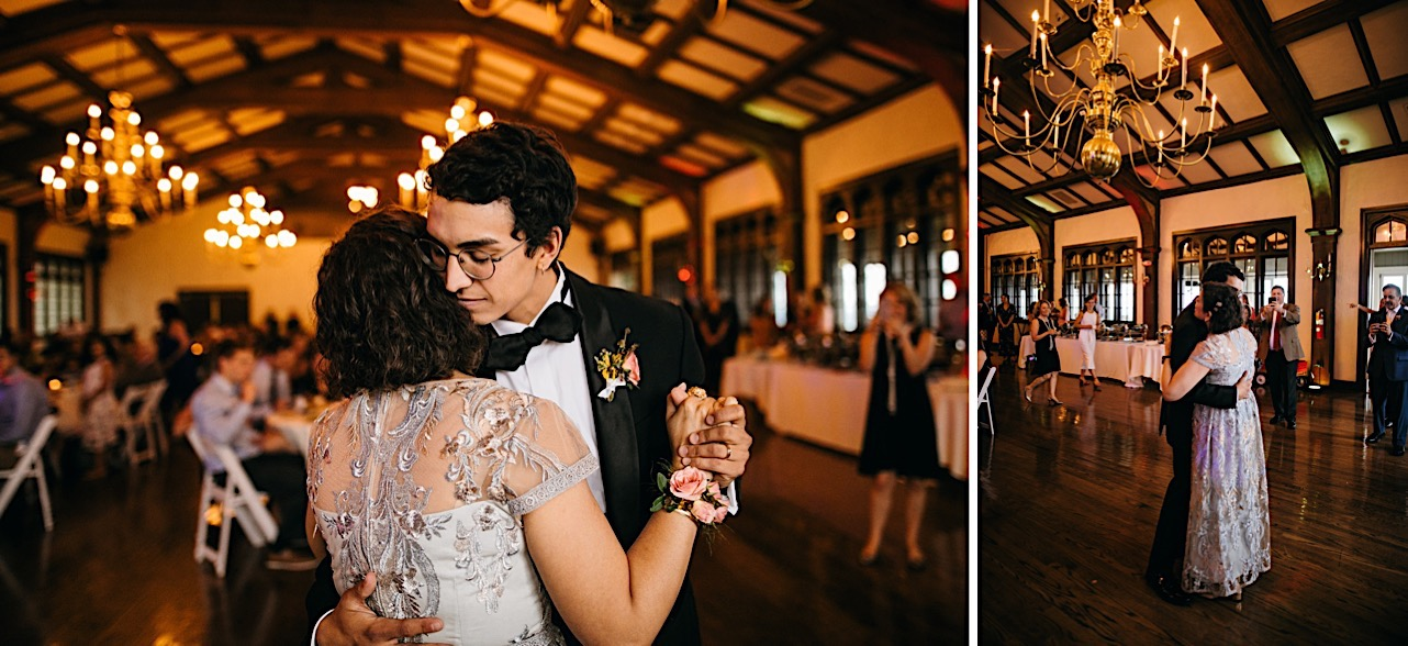 groom and mother share a dance at Lookout Mountain Club wedding reception while guests watch