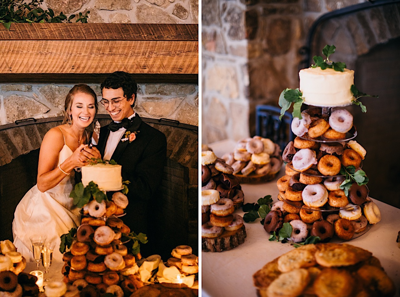 bride and groom stand next to their 4-tier donut cake tower and cut into the small layer cake at the top