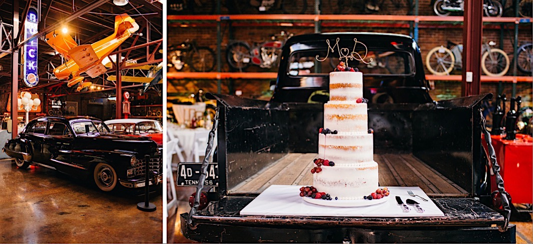 4-tier naked wedding cake displayed on the tailgate of a vintage black pickup truck