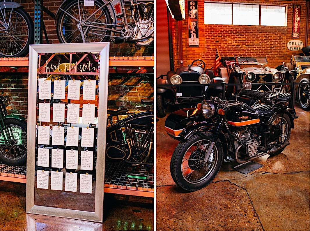 table assignment board leans against a rack of vintage bicycles and motorcycles
