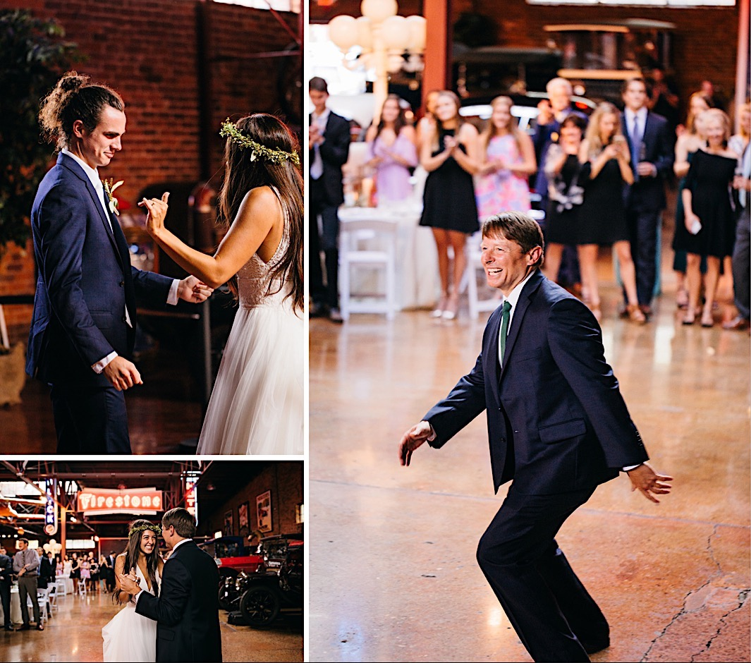 bride and groom dance on the poured cement dance floor of The Coker Museum in downtown Chattanooga Tennessee wedding reception