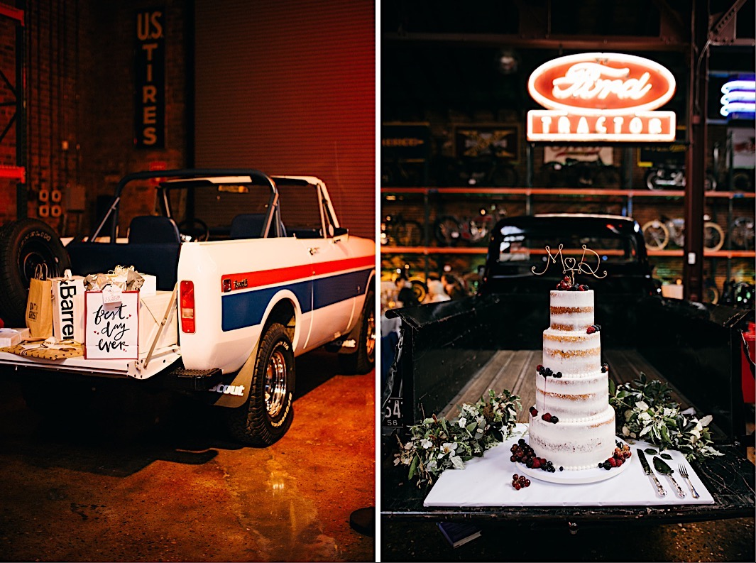 naked wedding cake sits on the tailgate of a vintage pickup truck