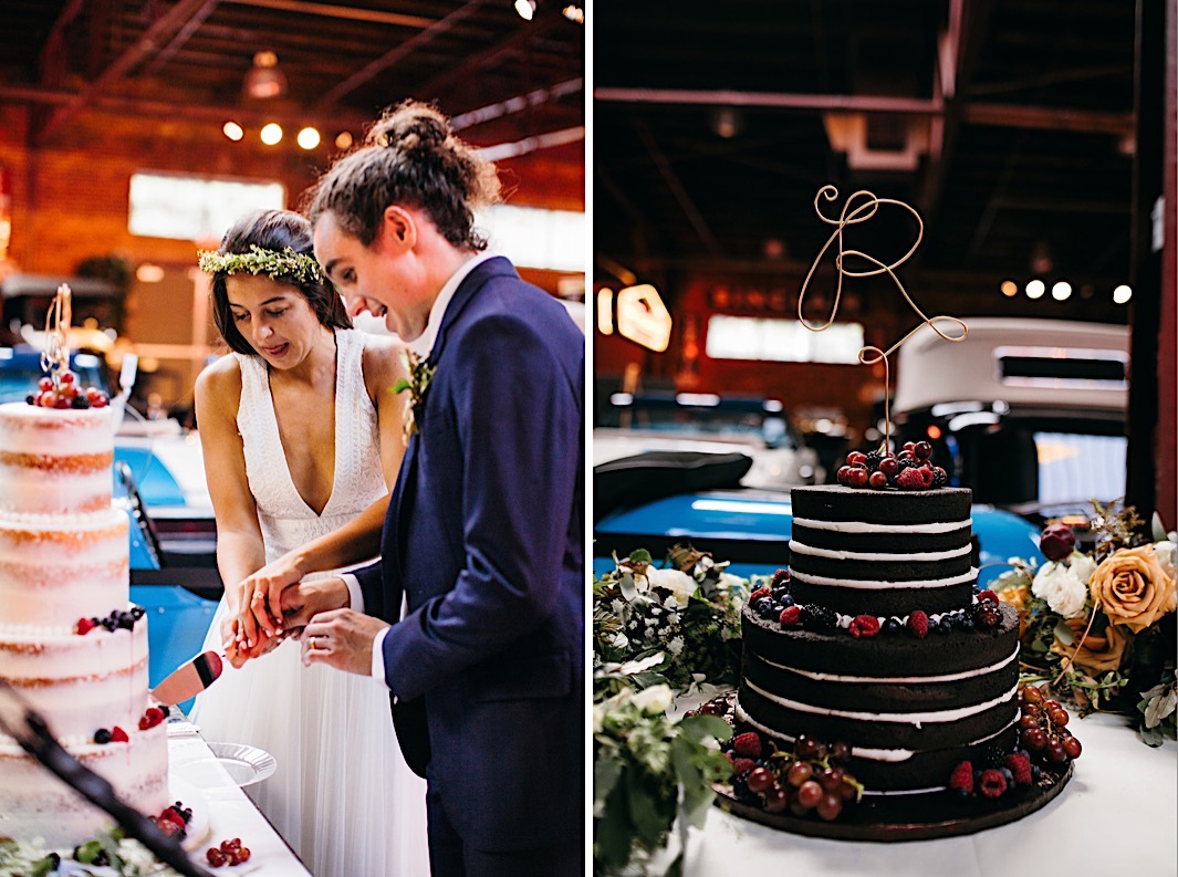 bride and groom cut into their naked wedding cake next to a naked chocolate grooms cake
