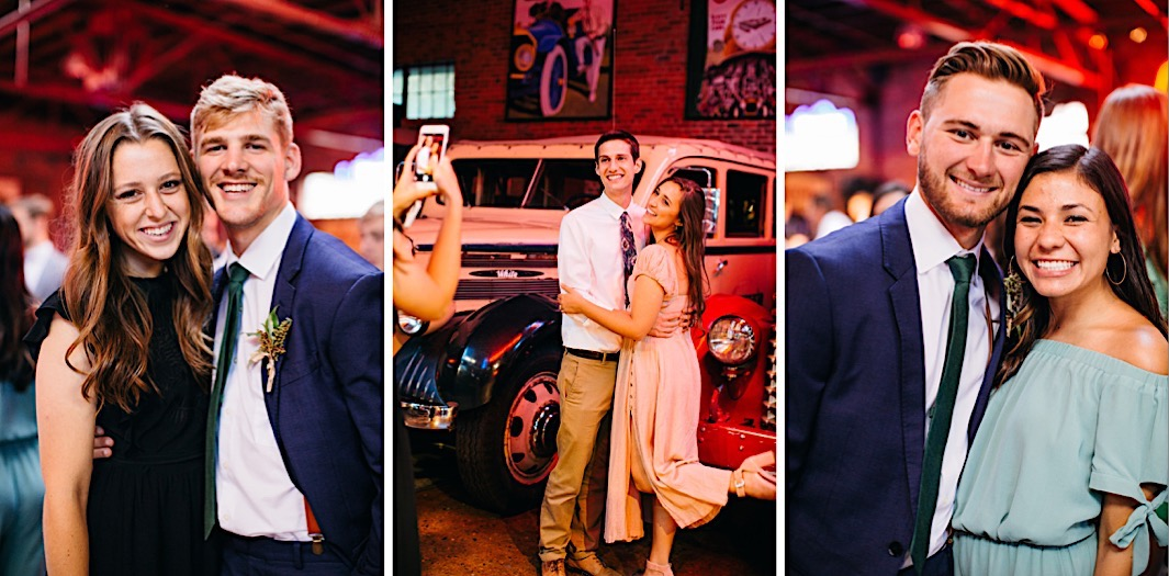 wedding guests pose for photos next to vintage cars at The Coker Museum in Chattanooga, TN
