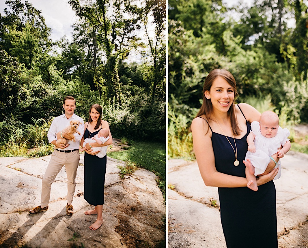 Chattanooga family with dog and newborn in the woods